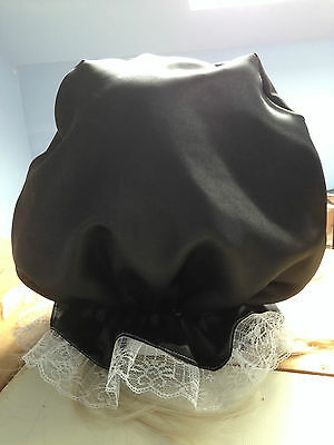 blindfold mask black out hood  fancy dress sissy maid black satin fetish slave