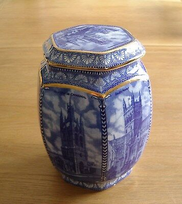 Wade Ceramics(For Ringtons) Blue & White Tea Jar –Scenes Of Cathedrals & Abbeys