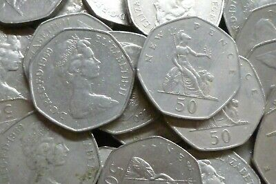Bulk Lot Of 20 Clean Large Size 50p Coins ( Fifty Pences ) Issued 1969-1983
