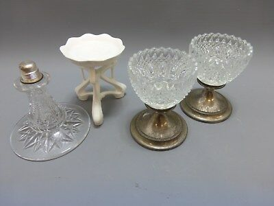 Selection of antique Fairy lamp bases / parts inc cut glass