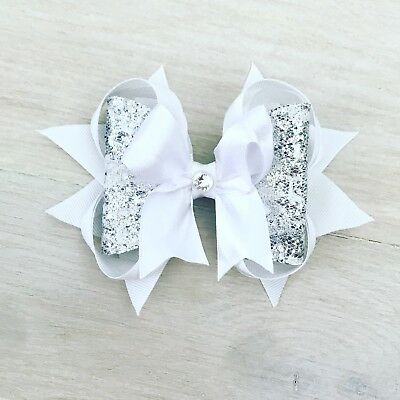 "girls hair bow , 5"" glitter Dolly Bow, Pretty stacker Bow"