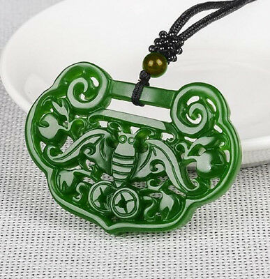 100% Natural jade China hand-carved Green jade 福在眼前 Pendant Necklace Amulet