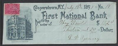 """1899 Cooperstown New York Bank Check """"Bank"""""""