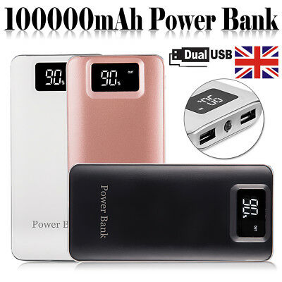 Portable 100000mAh Power Bank LCD USB External Battery Charger For Mobile Phone