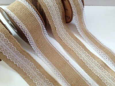 Eleganza Woven Edge HESSIAN & LACE -various designs, lengths, reels & ODDMENTS!