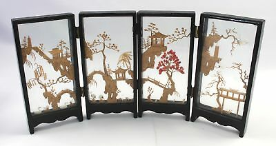 Vintage Oriental Chinese/Japanese CORK CARVING DIORAMA Screen Divider - E26