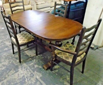 Victorian Style Solid Mahogany Extending Refectory Dining Table & 4 Chairs - B78