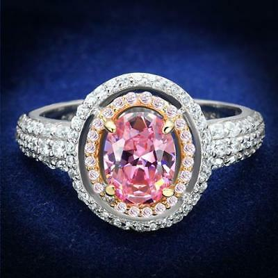 543 Pink Sapphire Engagement Simulated Diamond Ring Sterling Silver Pave Womens