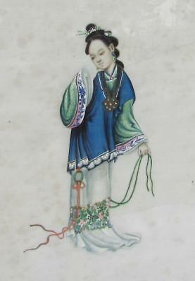FINE CHINESE ANTIQUE 19thC RICE PAPER PITH  PAINTING - BEAUTIFUL WOMAN