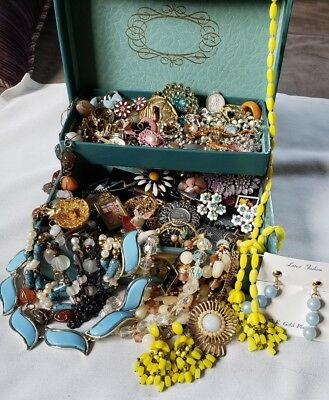 Vintage Jewelry Box LARGE LOT Junk Drawer Estate Necklace Bracelet Brooch Rings