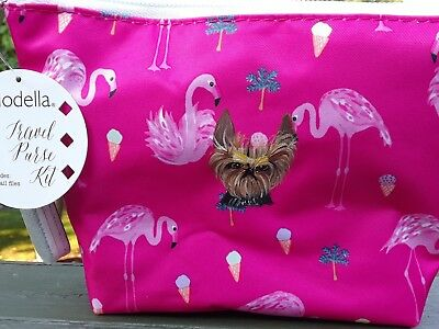 Hand Painted art Yorkshire Terrier YORKIE dog art    cosmetic bag pouch pink