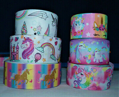 Assorted Unicorn Rainbow Ribbon 38Mm Wide  # Crafts/Cake Decorate/Hair Bow