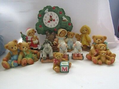 Enesco Cherished Teddies Lamb Donkey  Figurines And Clock Lot Of 9 Pieces