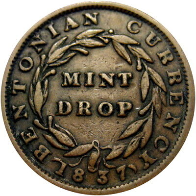 1837 Bentonian Currency Mint Drop Hard Times Token HT-62 Low 38