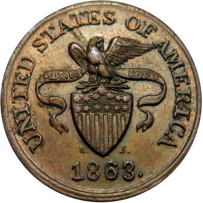 1863 New York City Civil War Token Story & Southworth Grocers Eagle On Shield