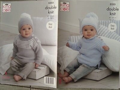2bbeb4349 KING COLE 5255 Baby Child s Sweater   Hat DK Knitting Pattern Sizes ...