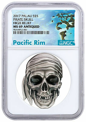 2017 Palau Pirate Skull High Relief 1 oz Silver Proof NGC MS69 SKU50438