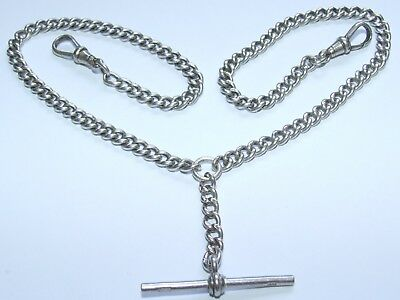 """Lovely Looking Antique c1890 Solid Silver 17"""" Double Albert Chain & T-Bar"""