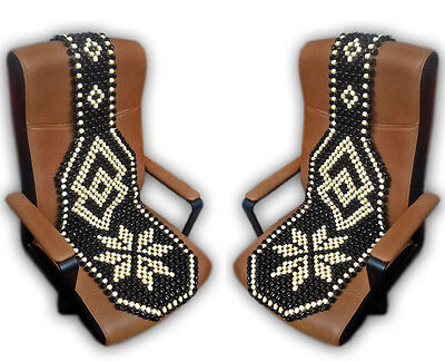 2 x Beaded Massage Wooden Car Office Home Chair Pair Front Seat Cover Cushion