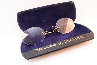 Vintage gold filled late 19thC pince nez  case Caffin Corporation ST Manchester