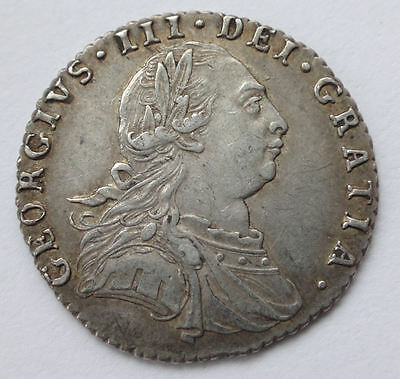 George III Sixpence 6d 1787 coin (Semee of Hearts) aEF - 1010