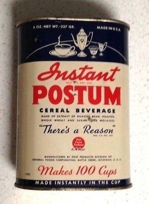 Postum Instant Cereal Beverage Can Vintage Lithograph Tin Advertising