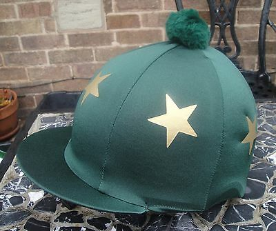 Riding Hat Silk Skull cap Cover DARK BOTTLE GREEN  GOLD STARS With OR w/o Pompom