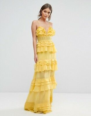 True Decadence Asos Mustard Yellow Tiered Maxi Dress Size Uk 10 Nwt Rrp 90