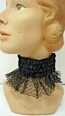 ANTIQUE 1800s VICTORIAN EDWARDIAN BLACK SILK & CHANTILLY LACE STAND-UP COLLAR