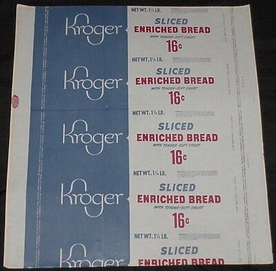 Vintage Unused Kroger Sliced Enriched Bread Wrapper Priced at 16 Cents Age?