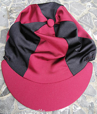 Riding Hat Silk Skull cap Cover BURGUNDY / MAROON & BLACK With OR w/o Pompom