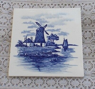 "RARE Vintage 6"" German Germany Porcelain Windmill Delft Tile Blue & White LOOK"