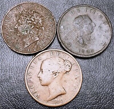 Lot of 3 Great Britain Half 1/2 Penny Coins - 1806 to 1853 - Old English