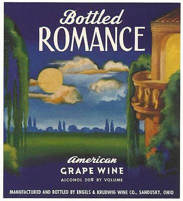 Bottled Romance Grape Wine Label Engels & Krudwig Sandusky Oh. Fox or Parrish?