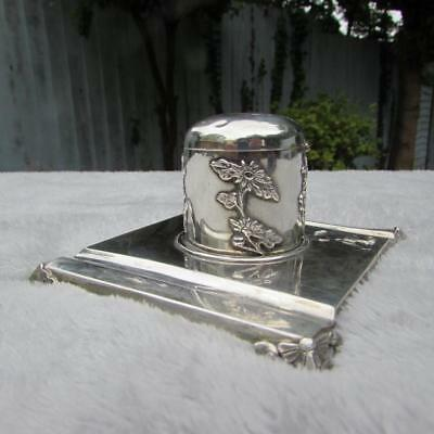 Rare Antique Chinese Export Silver Inkwell And Stand - Lueng Hing Circa 1900