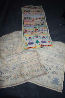 Three Antique Embroidery Samplers