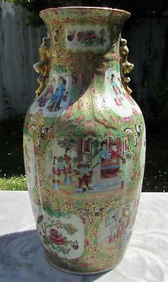 "LARGE 17"" ANTIQUE 19thC CHINESE FAMILLE ROSE CANTONESE VASE - RARE RIM DETAIL"
