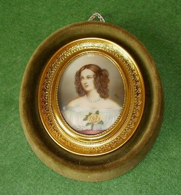 Antique Painting Miniature Portrait Of Pretty Woman In Pearls With Yellow Rose