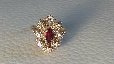 14K HGE Ruby CZ Open Wire Starburst Cocktail Ring Size  8