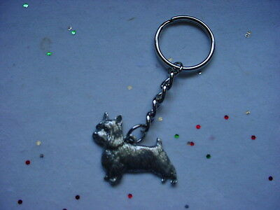 SILKY TERRIER Dog PEWTER Silver KEYCHAIN Christmas ornament Key Ring NEW puppy