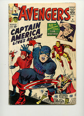 Avengers #4 (1963 Marvel) First Silver Age Captain America No Reserve!
