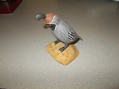 Handcrafted carved painted wood desert Gambel's Quail wooden bird figurine