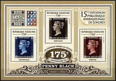 Togo 2015 Penny Black Anniv, London Stamps Exhibition MNH M/S #D76128