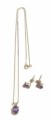 .375 9ct YELLOW GOLD & AMETHYST Necklace & Earrings Jewellery Set, 1.2g - E17