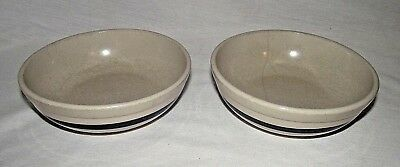 RRP Robinson Ransbottom Blue Stripe Soup Salad Bowls Ohio USA Roseville 6 1/2""