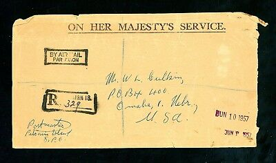 Pitcairn Islands  1957  Registered Cover to USA  (Some Faults)  (Jy1036)