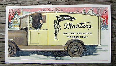 * Planters Mr Peanut Man Pen Ink Blotter Pennant Flag 1930's Delivery Truck Sign