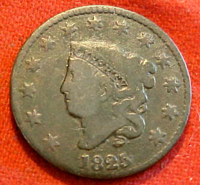 1825 Large Cent....rotated Reverse.............min. Bid .01 & No Reserve!