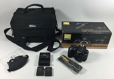 Nikon D3100 14.2MP SLR Digital Camera (Body Only) w/ 2 Batteries Charger & Case