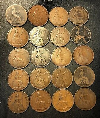 Vintage Great Britain Coin Lot - 20 LARGE Pennies - 1882-1940 - Lot #712